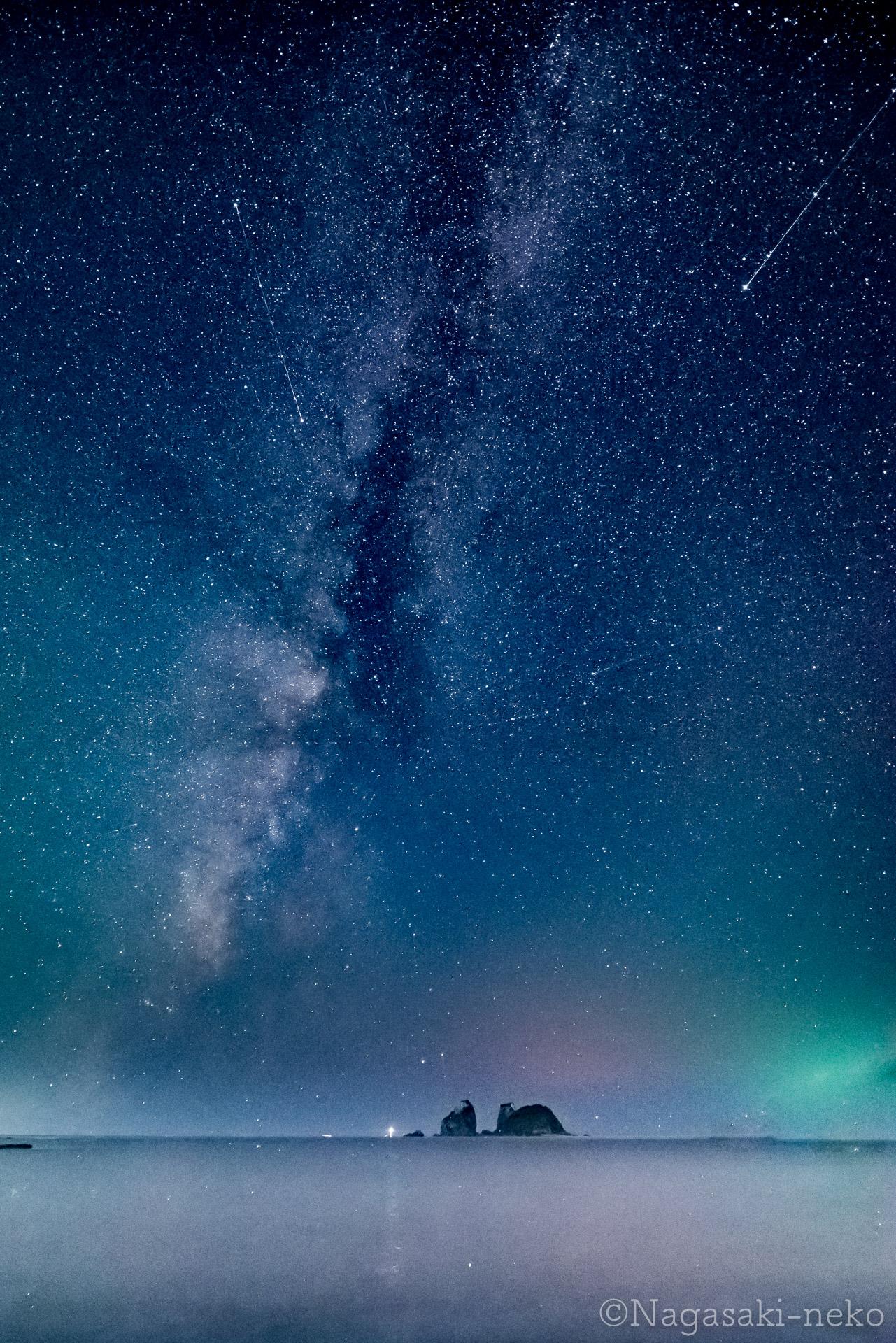 神楽島と天の川とペルセウス座流星群